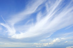 Blue sky. With fluffy clouds Stock Photo