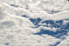 Blue sky with fluffy clouds background, copy space template, cloudy image texture and pattern.  royalty free stock photo