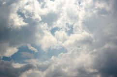 Blue sky with fluffy clouds background, copy space template, cloudy image texture and pattern.  royalty free stock images