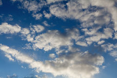 Blue sky with fluffy clouds Royalty Free Stock Images