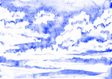Blue sky with fluffy clouds. Hand painted watercolor illustration Royalty Free Stock Photo