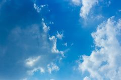 Blue sky and fluffy clouds scene royalty free stock photography