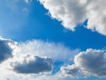 Blue sky and fluffy clouds Royalty Free Stock Image