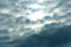 Blue sky fluffy white clouds Royalty Free Stock Photos