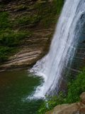 Tallest Waterfall at Stony Brook State Park. Tall waterfall on a cloudy summer day at Stony Brook State Park in New York State stock photos