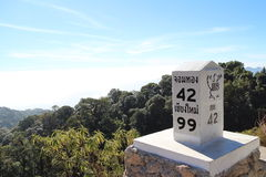 Blue sky, fog sea, foggy, mountain, milestone. View from the top of Doi Indhanon mountain, Chiangmai, Thailand. Highest mountain in Thailand with a milestone Royalty Free Stock Image