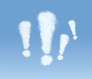 Blue sky full of exclamation marks Stock Photo