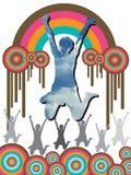 Blue sky girl & retro rainbow Royalty Free Stock Photo