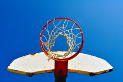 Blue Sky and Goal. Basketball goal with a bright blue backgroud Stock Images