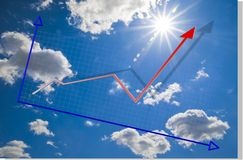 Blue sky and graph. A blue sky background with a chart or graph Stock Photography