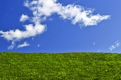Blue sky and green field Royalty Free Stock Images