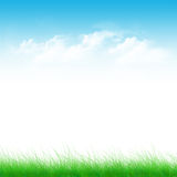 Blue sky and green field Stock Photos