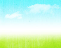 Blue sky and green field. Blue sky, clouds and green field grunge background Royalty Free Stock Images