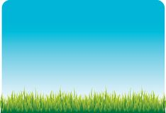 Blue sky and green grass Stock Photos