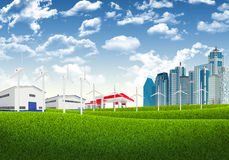 Blue sky, green grass and city Stock Images