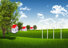 Blue sky, green grass and houses Stock Photos