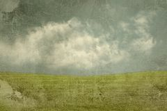 Blue sky and green grass old background Stock Photos