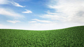 Blue sky and green hill. Nature background Royalty Free Stock Photo