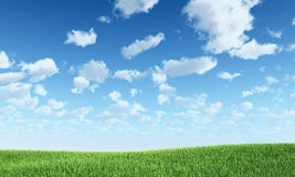 Blue sky and green hill. Nature background Stock Images