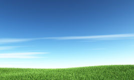 Blue sky and green hill. Nature background Royalty Free Stock Image