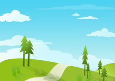 Blue sky and green hill - illustrations Royalty Free Stock Image
