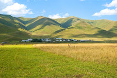 Blue sky and green hills Royalty Free Stock Photo