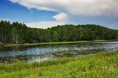 Blue sky, green wood, river and meadow Royalty Free Stock Photography