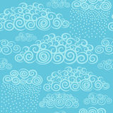 Blue sky with hand drawn stylize cute curly clouds. Stock Images