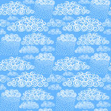Blue sky with hand drawn stylize cute curly clouds Stock Photo