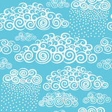 Blue sky with hand drawn stylize cute curly clouds Royalty Free Stock Images