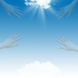 Blue sky and hands Royalty Free Stock Images