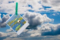 Blue sky with hanging photo Royalty Free Stock Photos