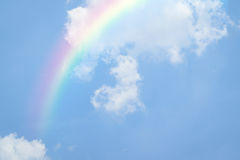 Blue sky heart with rainbow Stock Photography