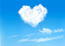 Blue sky with hearts shape clouds. Stock Photography