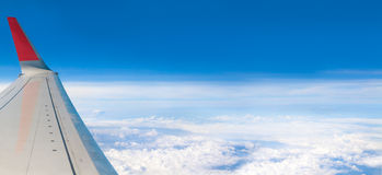 Blue sky high view from airplane clouds shapes. Photo blue sky high view from airplane clouds shapes Stock Photo