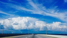 Blue sky from highway. Picture of clouds and blue sky from I-10 Royalty Free Stock Image