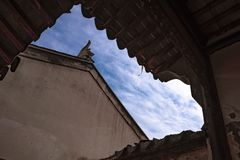 Blue sky through a hole royalty free stock images