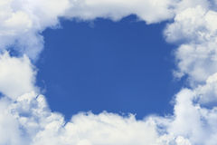 Blue sky hole white the clouds... stock images
