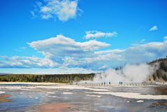 Blue sky and Hot Spring in Yellowstone National Park. Hot Spring  on Midway Geyser Basin in Yellowstone National Park Royalty Free Stock Images