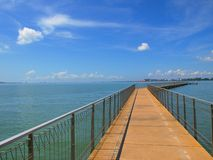 Blue Sky Jetty. A jetty with different angles and perspectives give fantastic views of the landscape. Text can be written on sky horizon and left side of the Stock Photos