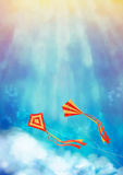 Blue Sky with Kite. Blue sky with flying kite and white clouds. Sunrise vector abstract background. Flyer, poster or cover design Stock Photo