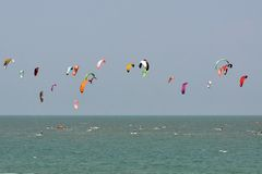 Blue sky and kitesurf in Thailand Royalty Free Stock Photography