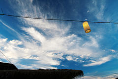 Blue sky and lamp sunset view. Mon jam Chiang Mai Thailand Stock Images