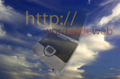 Blue Sky with laptop Stock Image