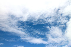 Blue sky and large white clouds Stock Photos