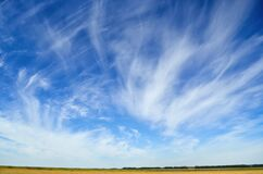 Free Blue Sky, Light Clouds, Earth Horizon Panorama Stock Images - 214550094