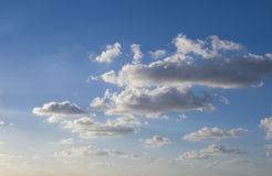 Blue sky with light white clouds. Bright blue sky with light white clouds stock photos
