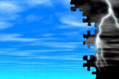 Blue sky & lightning. Puzzle royalty free stock photo