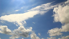 Blue sky low clouds timelapse Royalty Free Stock Photography