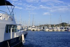 Blue sky marina in Spain, Mediterranean Royalty Free Stock Images